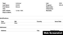Dodik na listi Ureda za kontrolu strane imovine