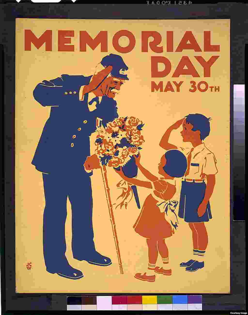 A poster honors veterans, showing a boy and an old soldier saluting each other, and girl presenting the soldier with bouquet of flowers. (photo courtesy of the Federal Art Project in New York, 1936 or 1937]
