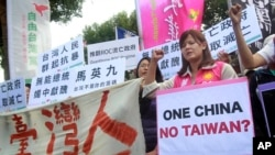 Opposition protesters shout slogans with placards opposing the planned meeting of Taiwan's President Ma Ying-jeou with his China counterpart Xi Jinping in Taipei, Taiwan, Wednesday, Nov. 4, 2015.