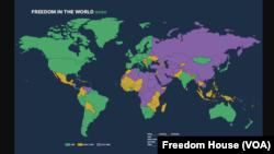 Freedom House'un 2020 Dünya Özgürlük Haritası'nda yeşil alanlar ''Özgür'', sarı alanlar ''Kısmen Özgür'' Türkiye'nin dahil mor alanlar ''Özgür Olmayan'' ülkeleri gösteriyor