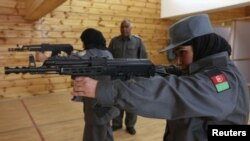 Female Afghan Soldier in Training