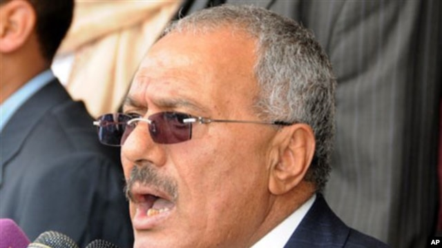 Yemeni President Ali Abdullah Saleh delivers a speech to his supporers in Sana'a, March 25, 2011