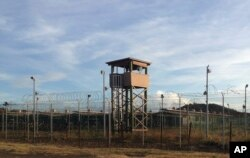This Dec. 11, 2016 photo shows a guard tower at Camp Delta, one of the parts of the detention center at the U.S. Naval base at Guantanamo Bay, Cuba.