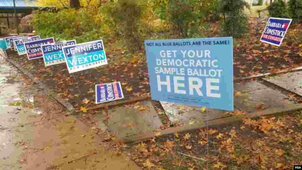 维吉尼亚州的一个投票站外(美国之音魏之拍摄)