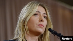 Maria Sharapova announces that she failed a drug test after the Australian Open, during a news conference in Los Angeles, March 7, 2016.