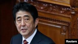 Waziri mkuu wa Japan Shinzo Abe akitoa hiotuba bungeni.
