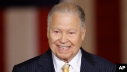 Former Sen. Edward Brooke speaks on Capitol Hill in Washington during a ceremony in which he received the Congressional Gold Medal, Oct. 28, 2009.