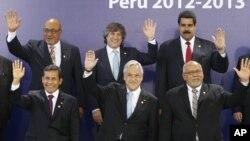 La foto oficial: los presidentes de Venezuela, Argentina, Brasil y Bolivia fueron los grandes ausentes de la cumbre.