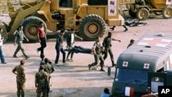 Hiện trường vụ đánh bom tự sát ở Beirut, 23/101983. (Ảnh tư liệu).