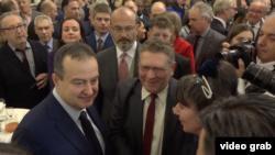 Ministar spoljnih poslova Srbije Ivica Dačić sa zvanicama na novogodišnjem prijemu za strane diplomate, u Beogradu, Srbija, 13. januara 2020.