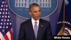 U.S. President Barack Obama makes a statement about the killings of hostages held by al-Qaida in the White House Briefing room, April 23, 2015.