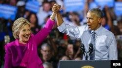 Хиллари Клинтон и Барак Обама. Шарлотт, Северная Каролина. 5 июля 2016 г.