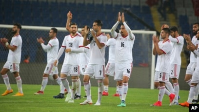 8e6f746828f Iran s players acknowledge their supporters following a friendly soccer  match between Turkey and Iran