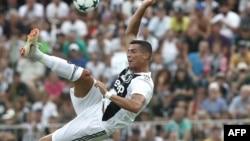 L'attaquant portugais de la Juventus, Cristiano Ronaldo, lors d'un match amical à Villar Perosa, le 12 août 2018.
