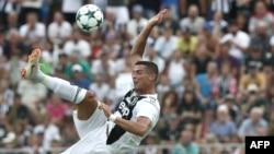 Cristiano Ronaldo, lors d'un match amical entre la Juventus A et la Juventus B, à Villar Perosa, à Villar Perosa, le 12 août 2018.