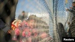 지난 1월 20일 라파 국경을 가족과 함께 넘길 원하는 팔레스타인 소녀가 울고 있다 (자료사진)