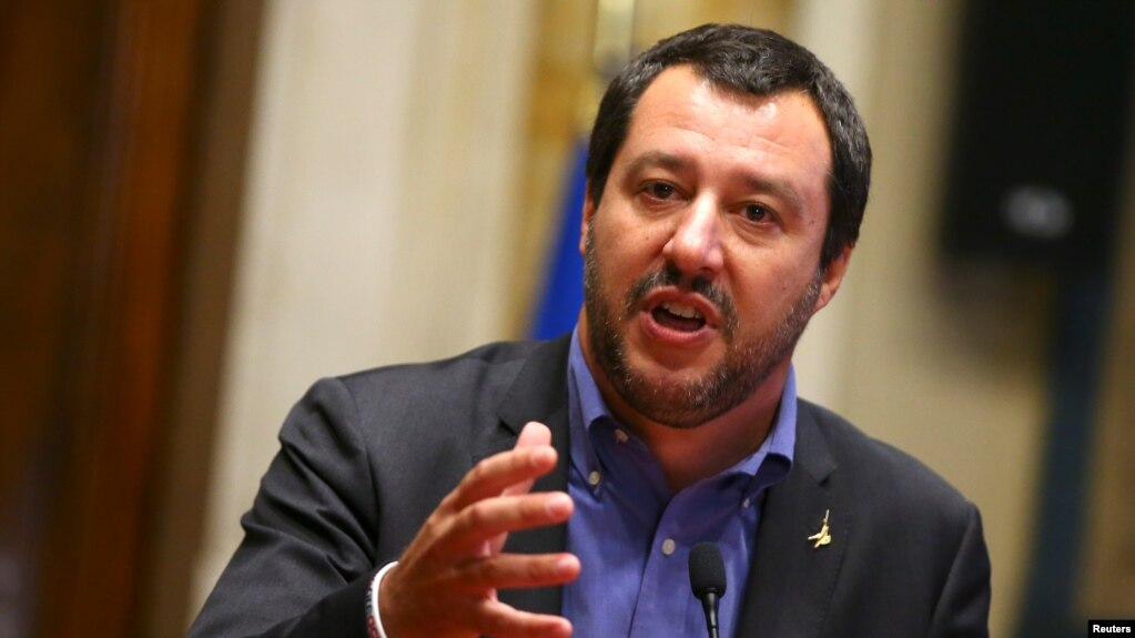 FILE - Italy's Interior Minister Matteo Salvini speaks to the media after a round of consultations with Italy's newly appointed Prime Minister Giuseppe Conte in Rome, May 24, 2018.