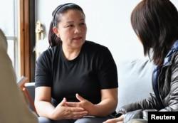 2018年逃離新疆集中營的哈薩克族女子邵伊特拜(sairagul sauytbai) 在哈薩克斯 坦被當局釋放,現在瑞典接受傳媒採訪(2019年7月3日拍攝)