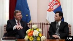 Susret evropskog komesara za proširenje Štefana Filea i potpredsednika Vlade Srbije Božidara Đelića u Beogradu