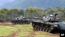 台灣2018年1月30日演習中的戰車資料照。
