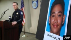 Sacramento Police Chief Sam Somers Jr. announces the arrest of James Tran, Nov. 4, 2015, who is charged with the attempted homicide of Airman 1st Class Spencer Stone during an altercation in October, in Sacramento, California.