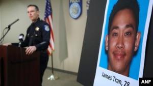 Cảnh sát trưởng Sam Somers Jr. thông báo việc bắt giữ James Tran, ngày 4/11/2015.