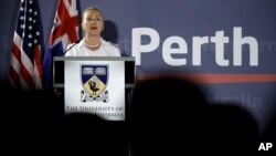 US Secretary of State Hillary Clinton speaks at University of Western Australia, Nov. 13, 2012, in Perth, Australia