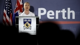 US Secretary of State Hillary Clinton speaks at University of Western Australia, Nov. 13, 2012, in Perth, Australia