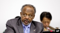 Ismael Omar Guelleh, le président de Djibouti, aux Nations unies, New York, le 24 septembre 2011. Il est au pouvoir depuis 1999. (Photo: AP/David Karp)