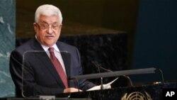 유엔 총회(25일)에서 이스라엘의 유대인 정착촌 건설 문제와 관련해 팔레스타인의 입장을 단호하게 강조하는 압바스 자치정부 수반