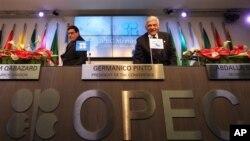 ກອງປະຊຸມຂອງບັນດາປະເທດອາຫຣັບໃນກຸ່ມ OPEC ການຜະລິດນໍ້າມັນດິບຂອງອີຣ່ານ ທີ່ຈັດຂຶ້ນໃນສໍານັກງານໃຫຍ່ ໃນເມືອງ Vienna ປະເທດໂອຕຣິສ (AP Photo/Ronald Zak)