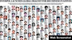 中国公布100名涉嫌经济犯罪外逃人员全球通缉名单(英文)