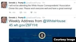 올해 백악관 출입 기자단 만찬 불참 결정을 알리는 도널드 트럼프 대통령의 트위터 글.