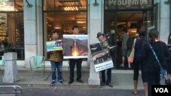 유럽 탈북민단체들이 지난 9일 네덜란드 헤이그에서 개최된 '독재자의 밤' 행사에 참석해 북한의 도발과 인권유린을 폭로하고 규탄하는 행사를 가졌다. 사진 제공: 재유럽조선인총연합회.