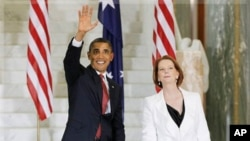 美国总统奥巴马与澳大利亚总理吉拉德11月16日在堪培拉