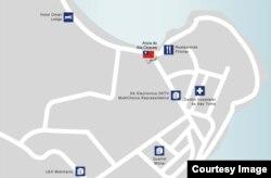 台灣駐聖多美普林西比首都聖多美的大使館地圖。