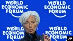 """Managing Director of the International Monetary Fund, Christine Lagarde, speaks during a panel """"The Global Economic Outlook"""" at the World Economic Forum in Davos, Switzerland, Jan. 23, 2016."""