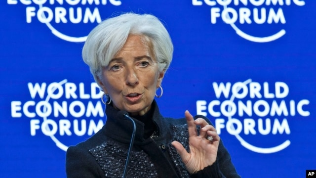 "FILE - Managing Director of the International Monetary Fund, Christine Lagarde,  speaks during a panel ""The Global Economic Outlook"" at the World Economic Forum in Davos, Switzerland, Jan. 23, 2016. Lagarde, has warned Ukraine it would be unable to keep supporting it financially if the country doesn't step up its reforms efforts."