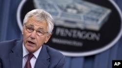 Američki sekretar za odbranu Čak Hejgel na konferenciji za novinare u Pentagonu