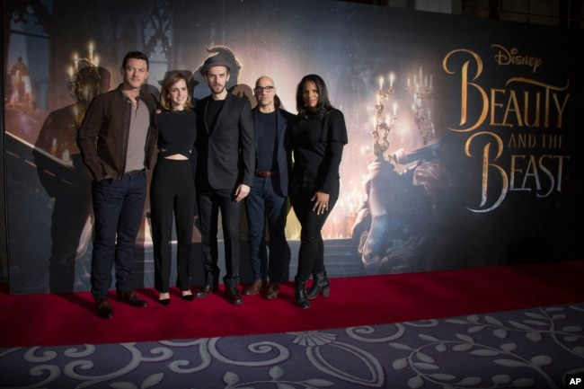 Actors From Left Luke Evans Emma Watson Dan Stevens Stanley Tucci And