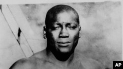 An undated photo of Jack Johnson, born in Galveston,Texas, who became the first black to win the heavyweight boxing title. He had approximately 113 bouts, losing only six.