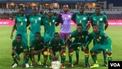L'équipe de football du Sénégal avant d'affronter la Tunisie, Franceville, Gabon, le 15 janvier 2017