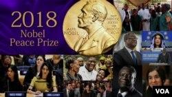 ၂၀၁၈ ႏိုဘယ္လ္ ၿငိမ္းခ်မ္းေရးဆုရွင္ ကြန္ဂို ဒီမိုကရက္တစ္ သမၼတႏိုင္ငံ Dr. Denis Mukwege နဲ႔ လိင္အၾကမ္းဖက္မႈ ခံခဲ့ရသူ Yazidi အမ်ိဳးသမီး Nadia Murad