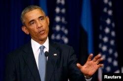 U.S. President Barack Obama talks during a press conference at the Bank of Estonia in Tallinn, Estonia, Sep. 3, 2014.