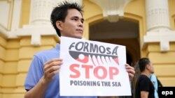 Biểu tình tố cáo Formosa gây ô nhiễm môi trường dẫn tới vụ cá chết hàng loạt ở miền Trung, ngày 1/5/2016.