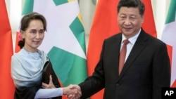 ႏိုင္ငံေတာ္အတိုင္ပင္ခံပုဂၢိဳလ္ ေဒၚေအာင္ဆန္းစုၾကည္နဲ႔ တ႐ုတ္ သမၼတ Xi Jinping (ဧၿပီ၊ ၂၄၊ ၂၀၁၉)