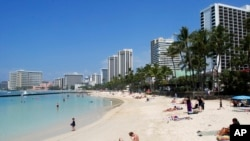 夏威夷檀香山的威基基海滩。有关官员表示,夏威夷仍是安全的。