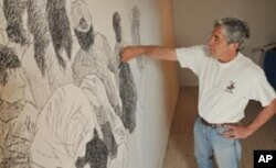 Tony Ortega works on a project at the Boulder Museum of Contemporary Art.