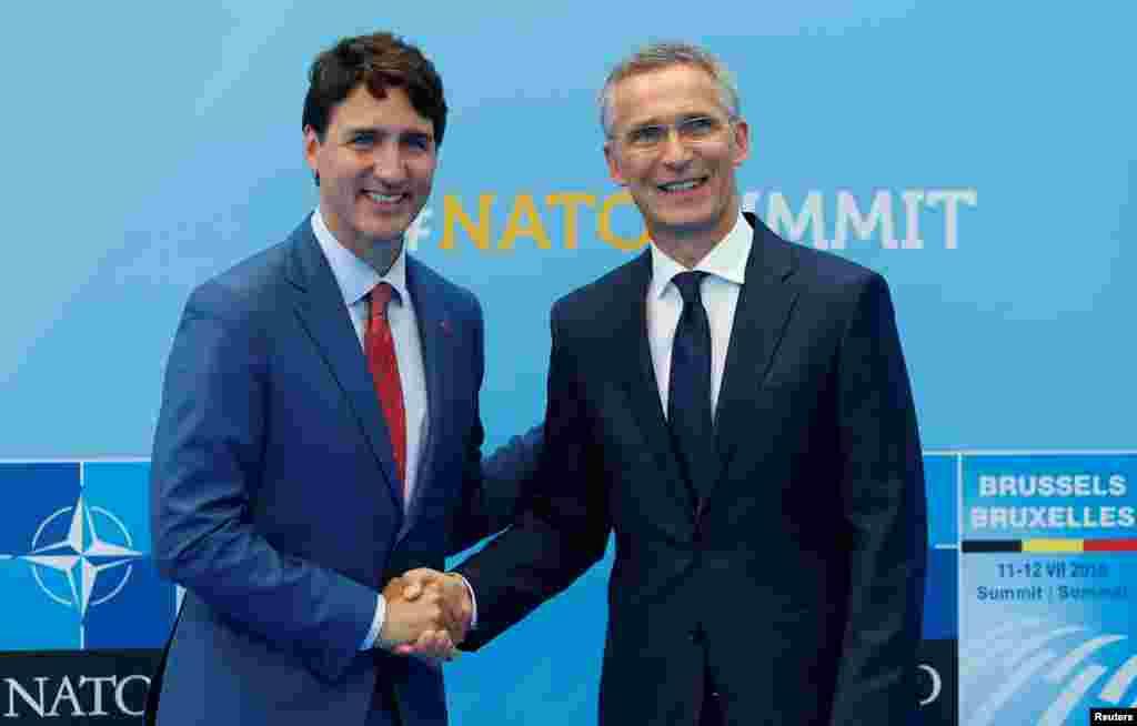 خوشامد گویی دبیر کل ناتو به جاستین ترودو، نخست وزیر کانادا