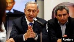Israeli Prime Minister Benjamin Netanyahu speaks during a Likud party meeting in Or Yehuda, near Tel Aviv, March 16, 2015.